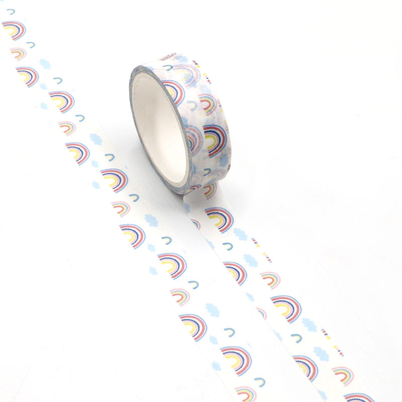 NEW 1pc Cute Rainbow Printing Washi Tape Kawaii Scrapbooking Tool Adhesive Masking Tape Photo Album Diy Decorative Tape