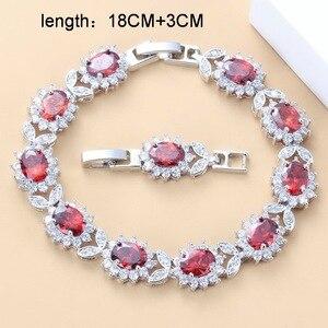 Image 3 - Conjunto de joyas grandes para novia, collar y pendientes de granate rojo Natural, plata 925, bisutería de boda, joyería para mujer, caja de regalo