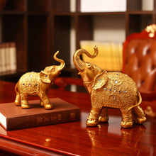 Furnishing Creative Resin Crafts Two Gold Elephant Model Design Living Room Home Decortaion Gift 27x14x29cm