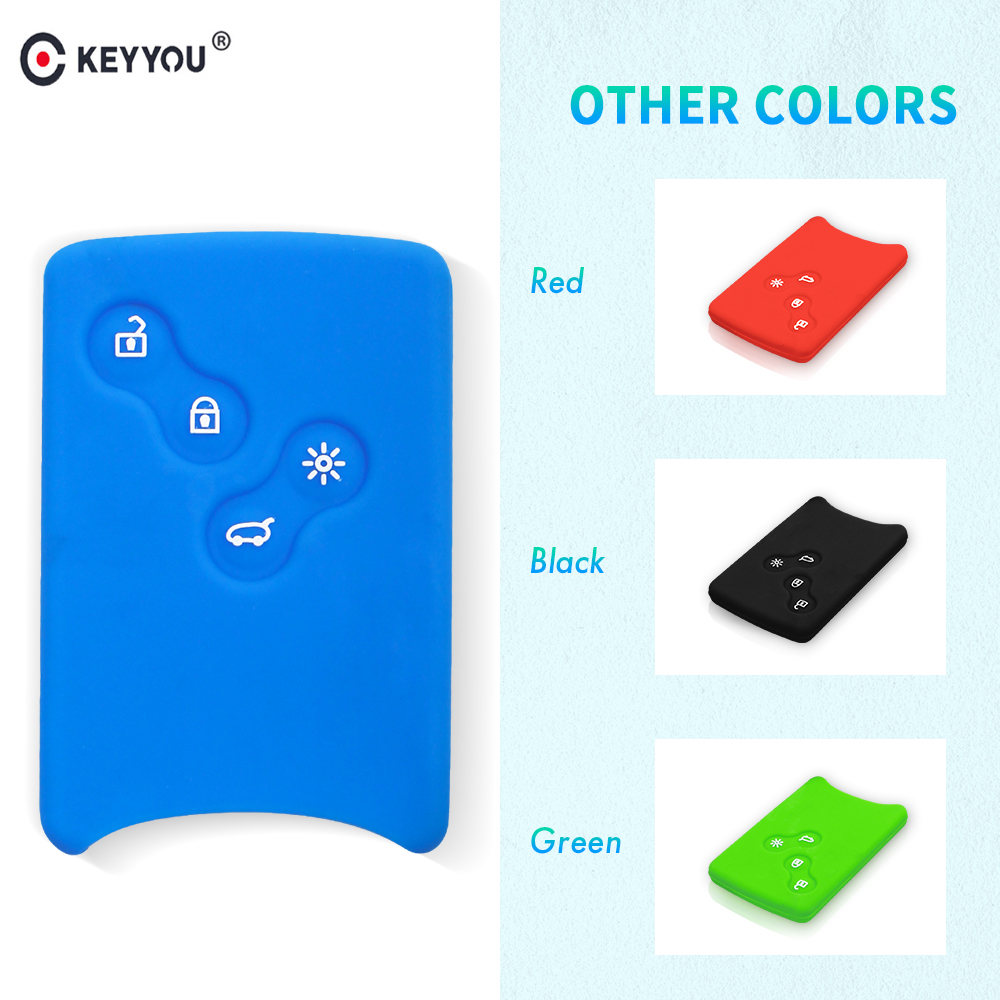 KEYYOU 4 Button Car Key Silicone Rubber Cover Case For Renault Clio Logan Megane 2 3 Koleos Scenic Card Key Protector Holder