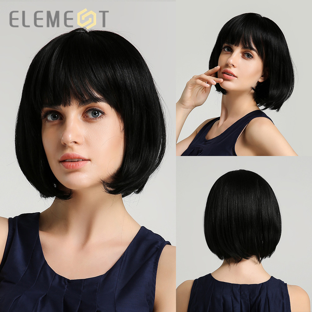 Elemento sintético curto em linha reta preto bonito bob perucas com franja para branco/preto feminino cosplay festa ou uso diário