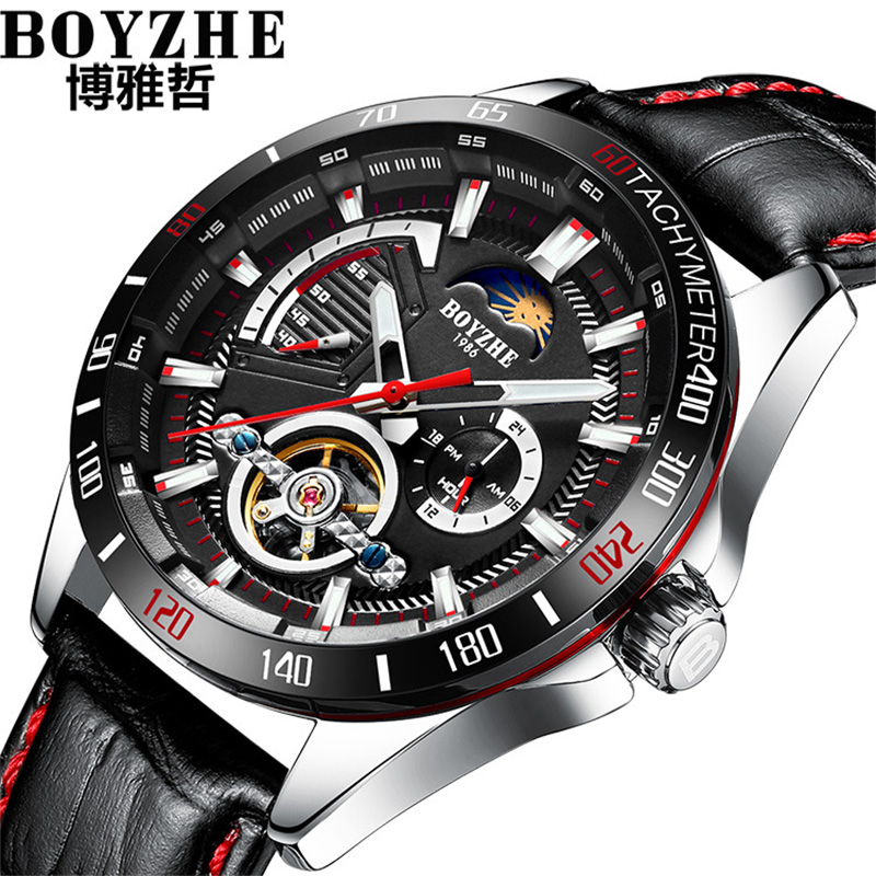 BOYZHE Military Automatic Watches Mens Mechanical Tourbillion Men Wrist Watch Moon Phase Leather Waterproof Clock Male Relogio