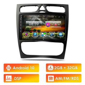 2 Din Car Multimedia Player Android 10 RDS DSP GPS Autoradio For Mercedes Benz C-Class W203 C200 C320 C350 CLK W209 2002-2005 image