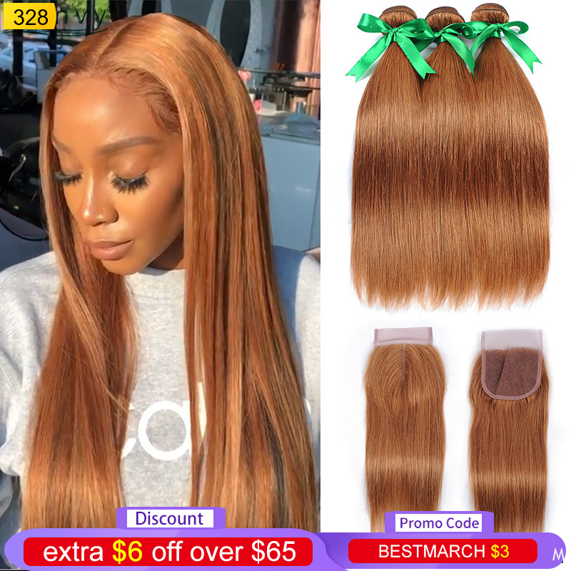 Ienvy Gold Blonde Bundles With Closure Straight Colored 30 Human Hair Bundles With Closure Brazilian Hair Weave Bundles Non-remy