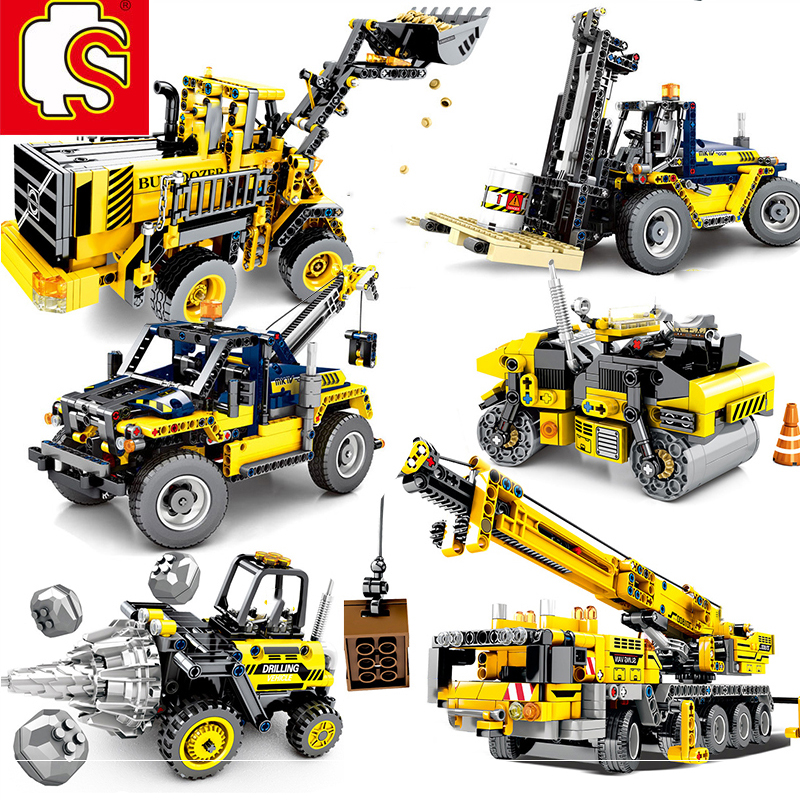 SEMBO Technic Engineering Lifting City Crane Truck Excavator Building Blocks Construction Toys for Children image