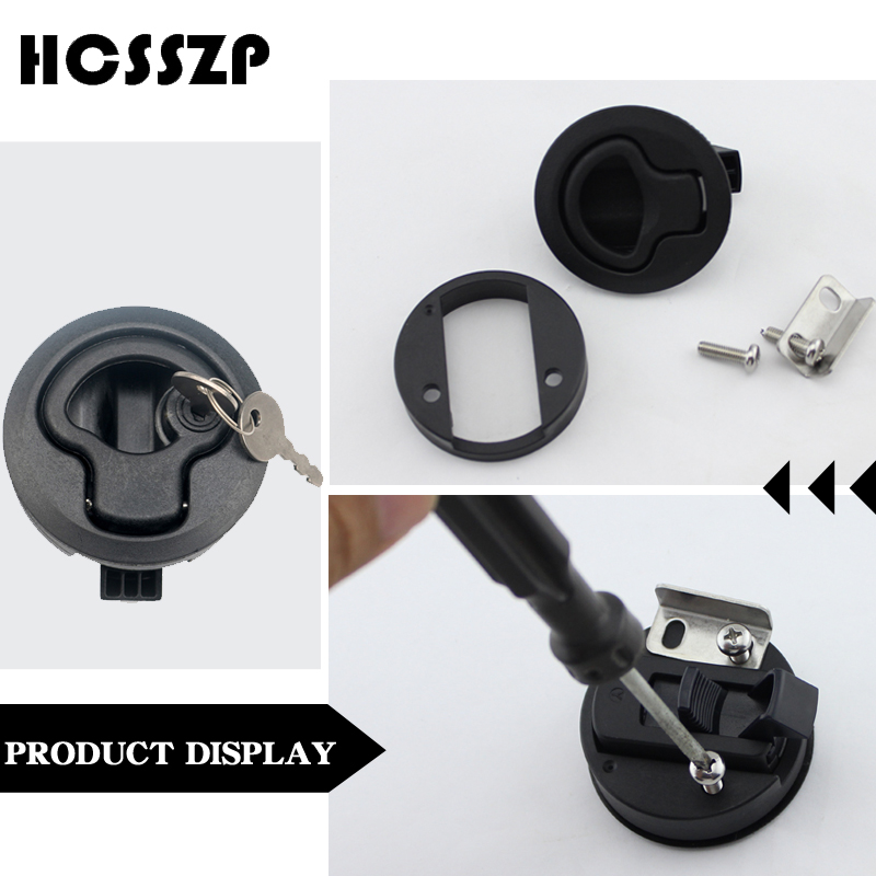 """Image 4 - 2 Pieces 2"""" Plastic Locking Lift Handle Flush Pull Latches Slam Marine Boat Round Deck Lock with Key Yacht Parts Accessories-in Marine Hardware from Automobiles & Motorcycles"""