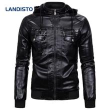 Мужская куртка с капюшоном landisto теплая кожаная имитацией
