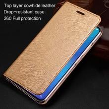 עור אמיתי מקרה טלפון עבור Samsung Galaxy S6 S7 S8 S9 S10 S21 בתוספת הערה 4 5 7 8 9 10 לייט 20 Ultra מקרה Cowhdie ארנק כיסוי