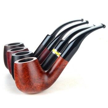 Briar pipes tobacco smoking pipe smooth finish 9mm filter bent pipe billiard shape #CK1029 ганг сумка briar 3х16х25 см