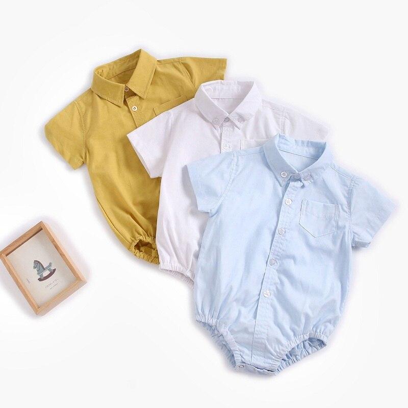 Bebê cavalheiro camisa macacão corpo lapela manga curta verão festa de aniversário recém-nascidos outfits da criança infantil menina menino macacões