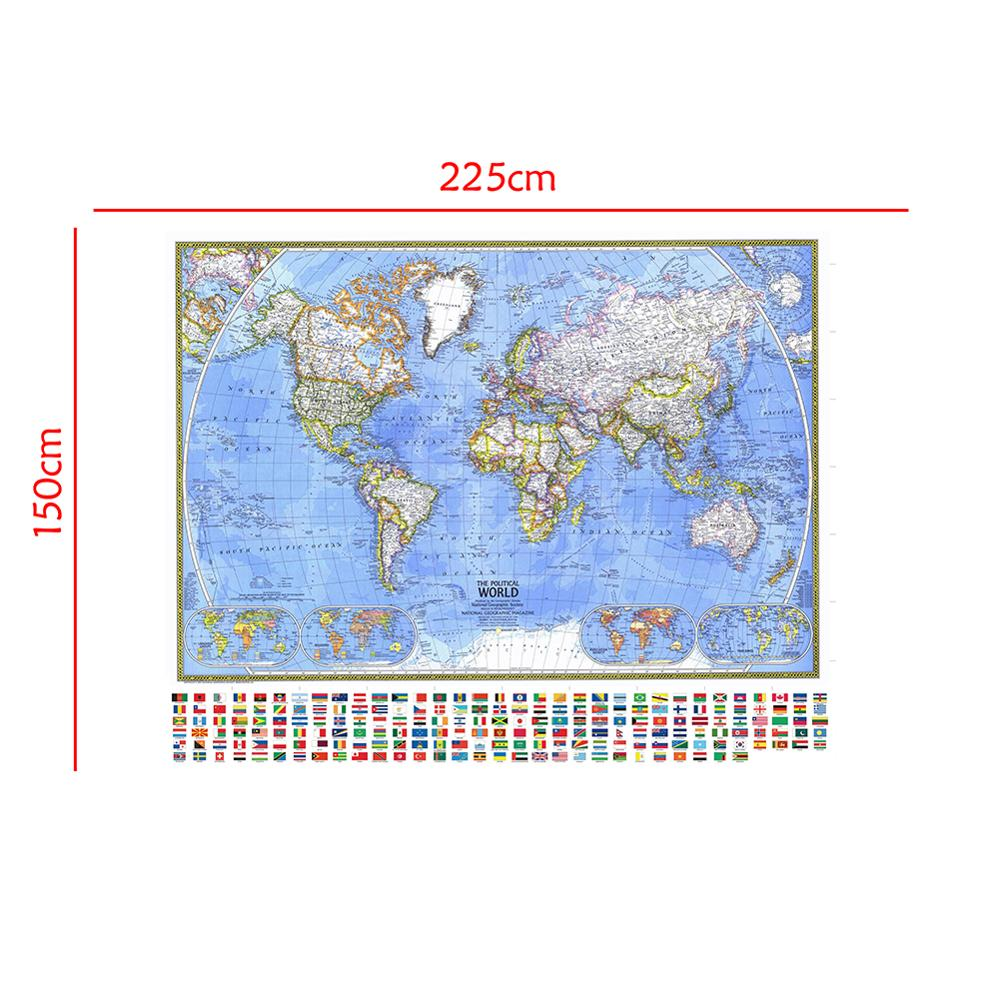 150x225cm The Political World Map With National Flag Collapsible No-fading World Map For Education And Culture