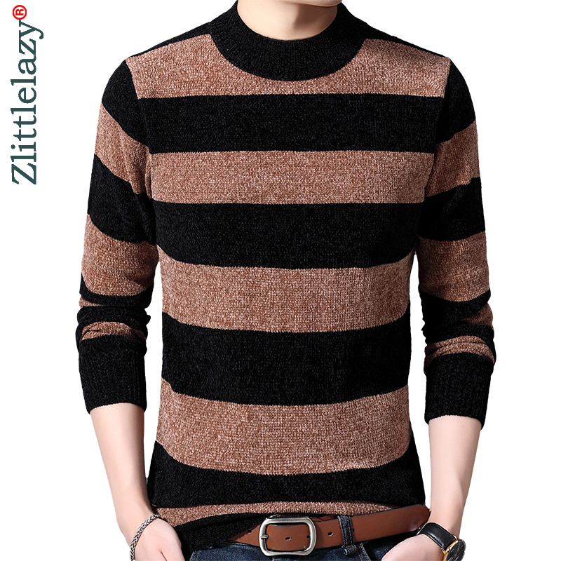 2019 Striped Thick Warm Winter Striped Knitted Pull Sweater Men Wear Jersey Mens Pullover Knit Mens Sweaters Male Fashions 9305