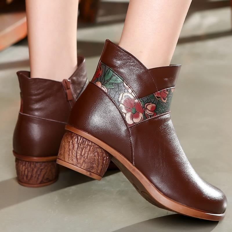Botas de couro feminino botas de inverno sapatos quentes bordados sapatos retro salto baixo martin botas de couro artesanal botas de tornozelo marrom 2019 - 6