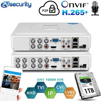H.264 Onvif 4 canales 8Ch CCTV Hybrid DVR 1080N 5IN1 grabadora para AHD Cámara TVI CVI cámara analógica Mini NVR para cámara IP PTZ