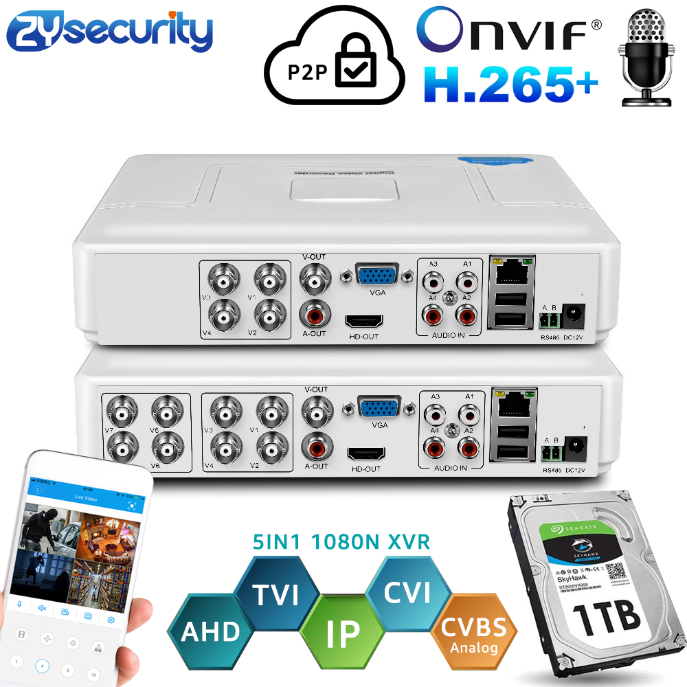 H.264 Onvif 4Channel 8Ch CCTV Hybrid DVR 1080N 5IN1 Recorder For AHD Camera TVI CVI Analog Camera Mini NVR For IP Camera PTZ
