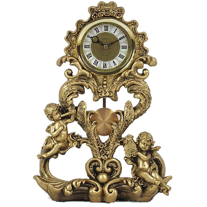 Роскошные винтажные Большие европейские настольные часы для гостиной ретро Роскошные домашние украшения офисные настольные часы электрон