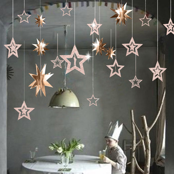 7pcs/lot Twinkle Star Paper Pendant Garland Ornaments Christmas Decorations for Home New Year 2020 natal Noel Decor Navidad 2019