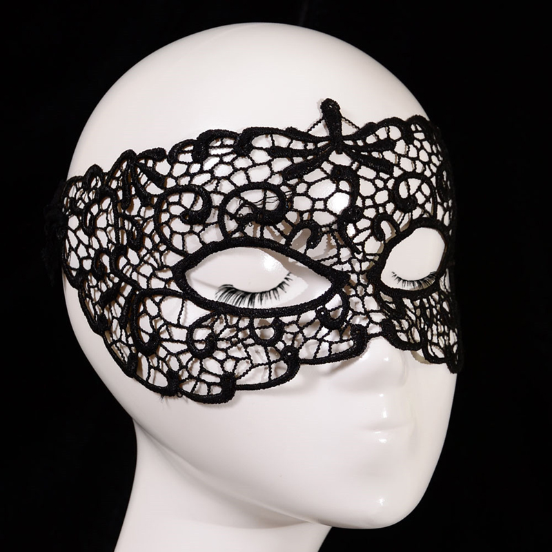 Women Charms Hollow Black Lace Masquerade Carnival Party Half Eye Mask