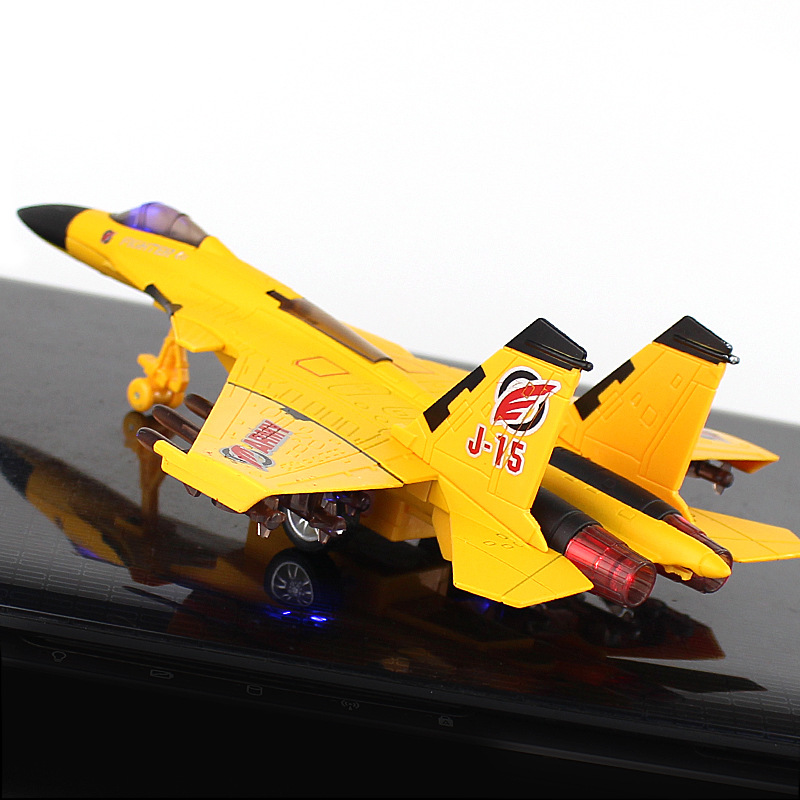 22CM Creative Fighter Air force aircraft airplane J 15 Model Metallic Military collection With sound light Toys Gift image