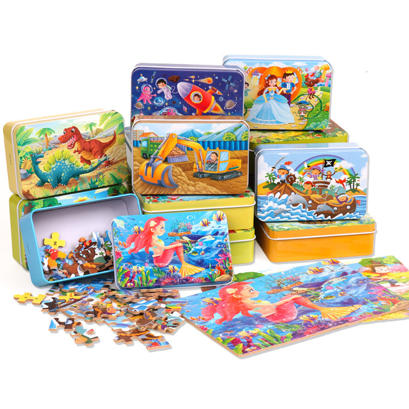 60Pcs/Set Cartoon Story 3D Wooden Puzzle Early Educational Toys For Children Animals Jigsaw With Iron Box Kids Christmas Gift