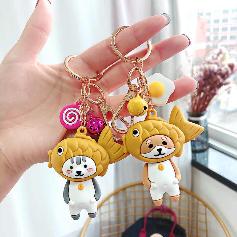 Desenhos animados shiba inu panda boneca chaveiro verão sorvete pingente ins net vermelho bonito donut mochila jóias acessórios