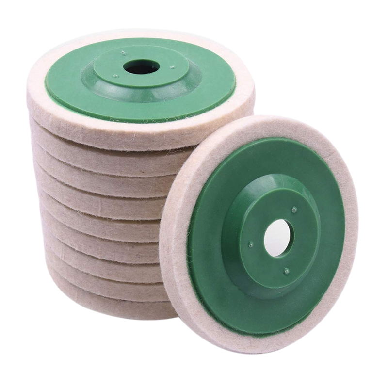 10Pcs 100Mm 4 Inch Wool Buffing Round Polishing Wheels Pads Polisher Wheels for Copper Iron&Aluminum Metal Polishing Tools