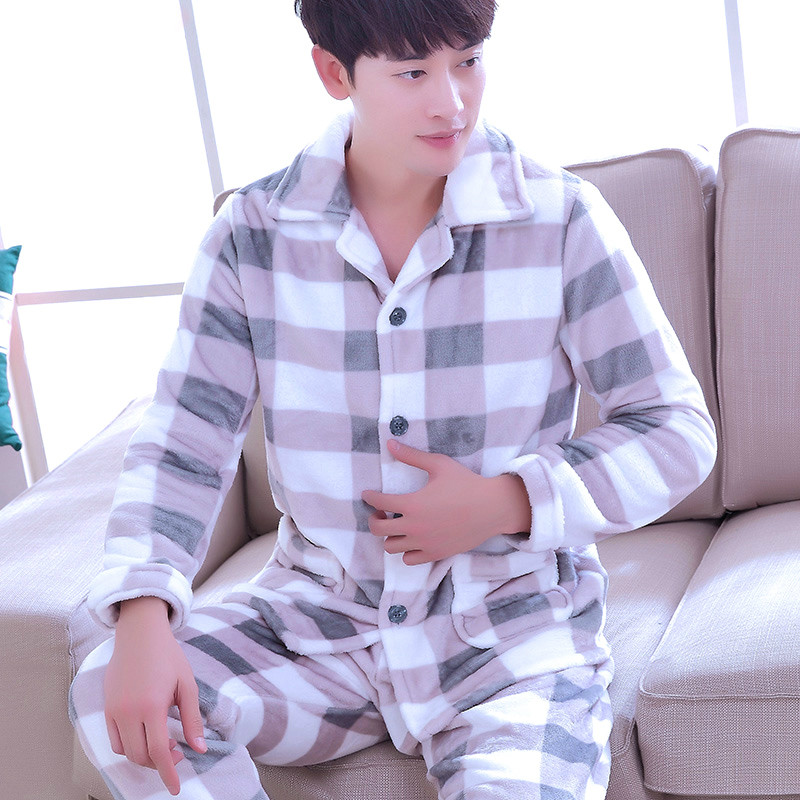 H5874 Sleepwear Men Autumn Winter Thickening Pajamas Set Thermal Flannel Housewear Male Long Sleeve Simple Large Size Nightgown