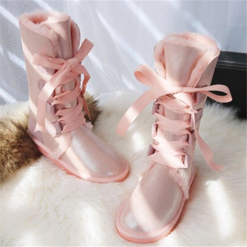 GY & YY genou haute en cuir de mouton véritable bottes de neige australie G bottes dentelle laine botte fourrure de mouton femmes hiver chaud chaussures plates - 5