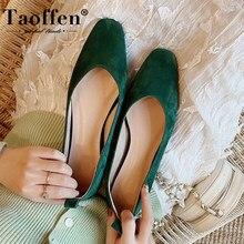 Taoffen novos sapatos planos femininos de couro real dedo do pé redondo primavera outono sapatos femininos férias senhoras calçados tamanho 33-43
