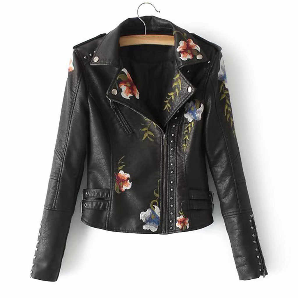 New Women's Coat Studded Pu Leather Embroidered Motorcycle Jacket - Ladies Slim-fit Embroidered Flower Short Biker Jacket Coat