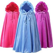 12€ Manto de princesa con capucha de terciopelo longitud hasta el suelo invierno Cenicienta/campana/Aurora/Elsa/Anna capa de hadas de lujo niñas princesa vestir