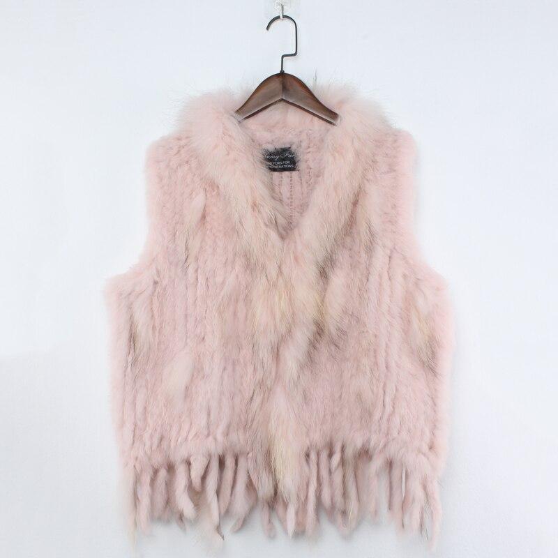 Nouvelle offre spéciale femmes 100% réel lapin tricoté fourrure gilet dame véritable naturel raton laveur fourrure col gilet réel fourrure gilet en gros