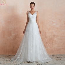 Beach Wedding Dresses 2019 Lace A Line V Neck Beaded Sequined Sleeveless Long Bridal Gowns hochzeitskleid Sweep Train 100% Real