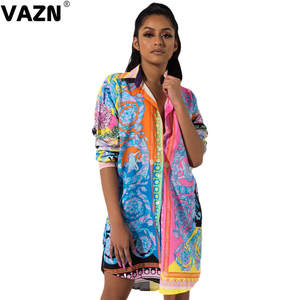 VAZN T-Shirt Dress Button Colors Full-Sleeve Sexy Women Print Summer GKM11269 Fly New-Product