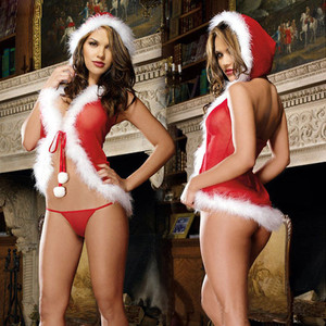 Christmas Fashion Women Sexy Santa Claus Red Babydoll Dress Muslin Plush Racy Female Underwear Spice Suit Lingerie Sets
