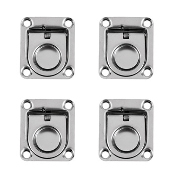4x Boat Recessed Hatch Spring Loaded Pull Handle Marine Locker Flush Lifting Ring Pull Stainless Steel Deck Hatch Boat Parts
