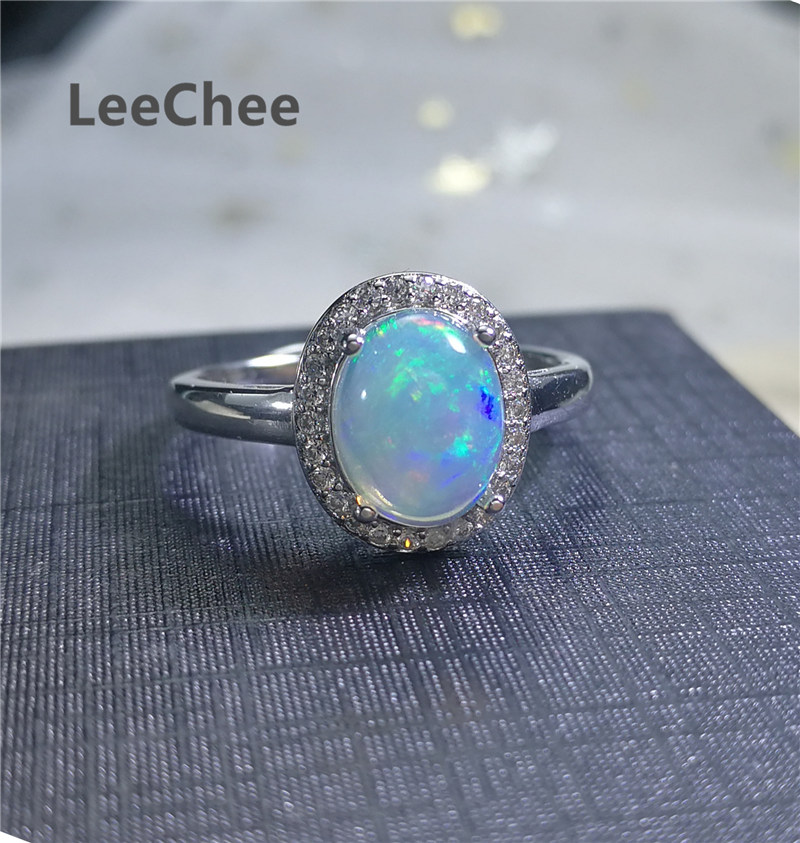 LeeChee Natural Opal Ring 7*9MM Colorful Gemstone Jewelry Classic Style for Women Wedding Engagement Gift 925 Sterling Silver