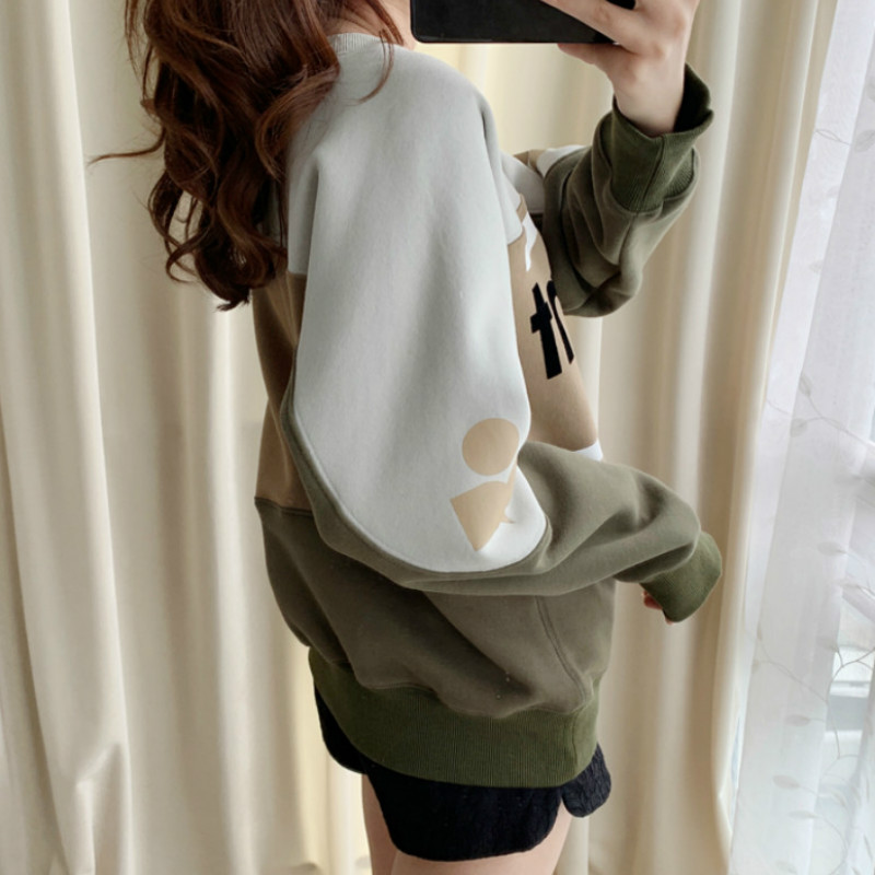 Women Sweatshirt Letter Print Loose Color Matching Round Neck Pullover Women Hoodie