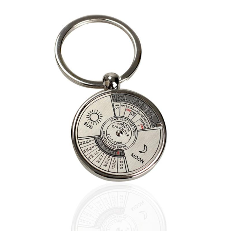 Mini Perpetual Calendar Keychain Ring Unique Metal Keyring 50 Years