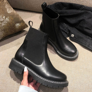 Fashion Leather Chelsea Boots Women 2020 Autumn Winter Ankle Boots for Women Chunky Heels Booties Woman Square Toe Shoes Woman