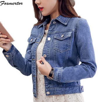 Women's Coat 2019 Denim Jackets Blue Autumn Denim Jackets for Women Jeans Single Breasted Denim Coats Female Feminine Clothing