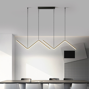Gold or Black Simple LED Chandelier Modern Kitchen island Long Hanging Light Dining Bar Office Coffee Restaurant Pendant Lamp modern light pendant lamps design led chandelier wood and aluminum lamp restaurant bar coffee dining room hanging light fixture