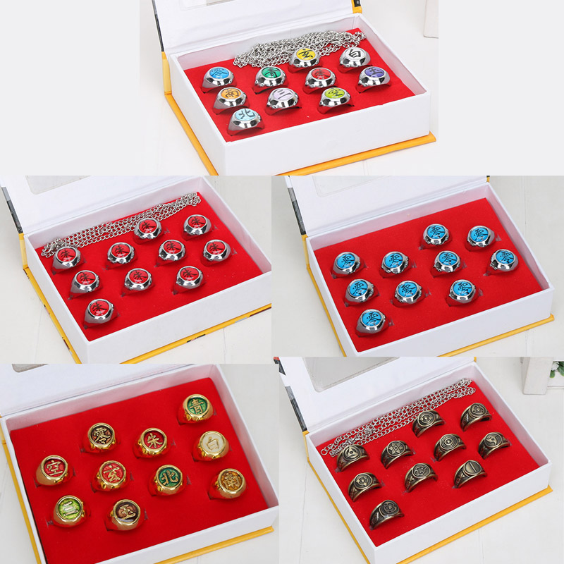 10pcs/Set Anime Naruto Rings Akatsuki Member's Cosplay Rings With Box