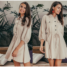 Vintage elagant women mini shirt dress Casual lantern sleeve short dress Turndown collar lace up linen female dresses turndown collar checked linen shirt