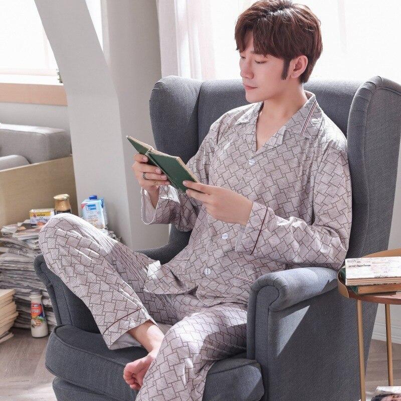 Men Pajamas Long Sleeve Pure Cotton Spring And Autumn Cardigan Plaid Casual Tracksuit Men's Autumn Set 5658