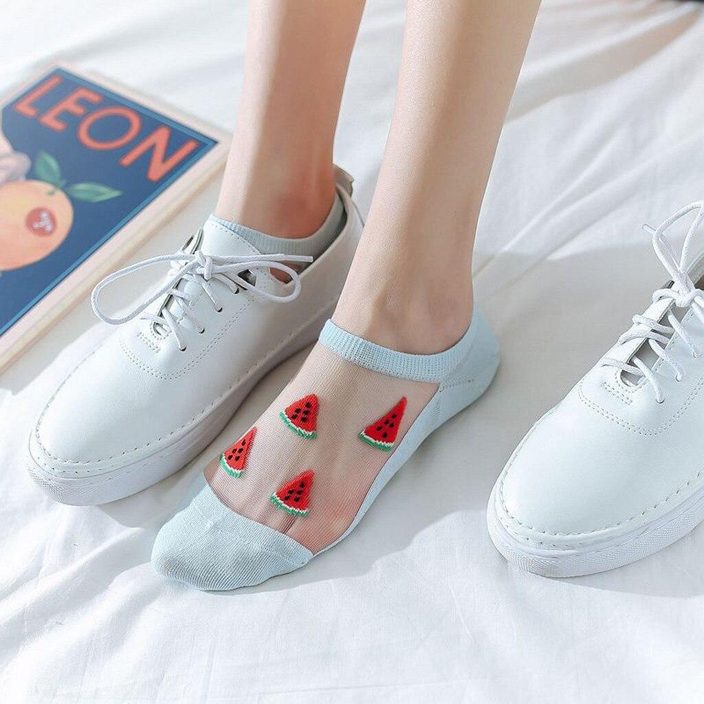 Женские повседневные летние модные Прозрачные шелковые короткие носки с фруктовым принтом Дышащие носки женские носки L0819|Носки|   | АлиЭкспресс