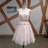 Short Prom Dresses Party Tulle Dress With Appliques V neck Beaded Mini Gown For Quinceanera Lace Up Back Vestidos De Graduacion