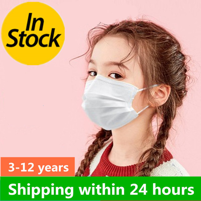 0-12Years Disposable Child Face Mask 3 Layer Respirator Boys Non-Woven Masks Kids Mouth Mask Anti Pollution Girls baby Masks 1