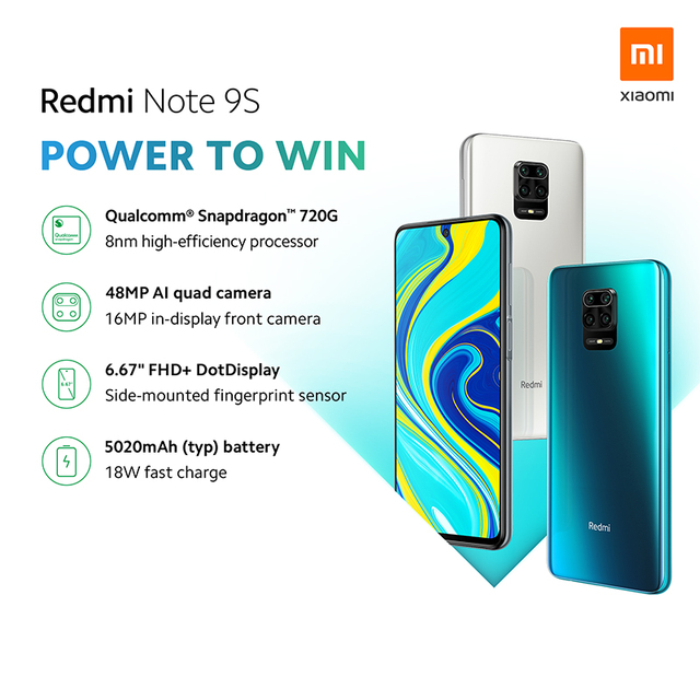 Xiaomi Redmi Note 9S Note 9 S 4GB 64GB Global Version smartphone Snapdragon 720G mobile phone Octa core 5020mAh 48MP Quad Camera 1