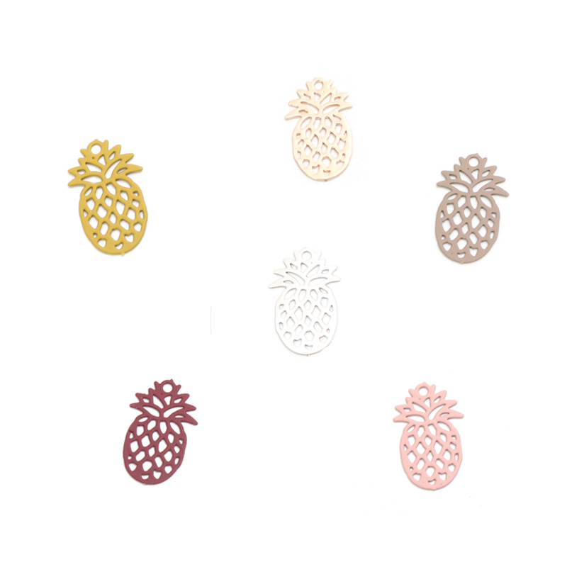 DoreenBeads Fashion Copper Charms Pendant Silver Color Pineapple/ Ananas Fruit Filigree Stamping DIY Findings 15mm x 9mm, 50 PCs(China)